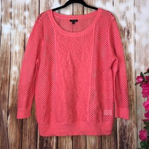 Apt 9 Open Weave Coral Sweater